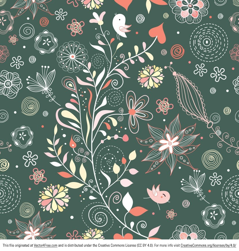 829x869 Free Vintage Floral Pattern Vector