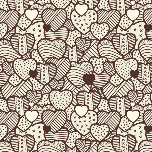 626x626 Hearts Vintage Pattern Vector Free Download