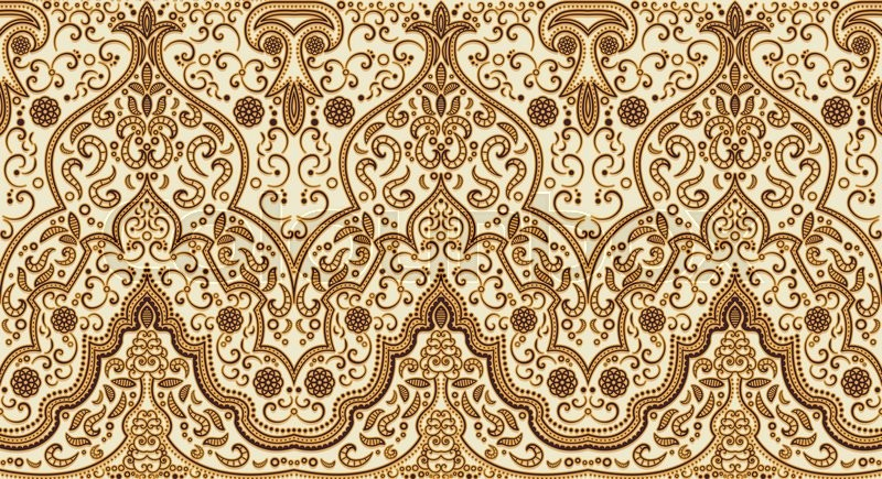 800x435 Seamless Texture With Luxury Arabic Ornament. Vector Vintage