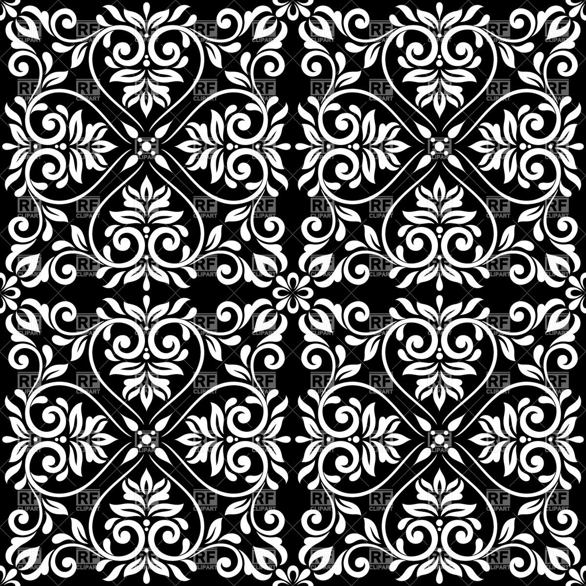 1200x1200 Black And White Seamless Vintage Pattern