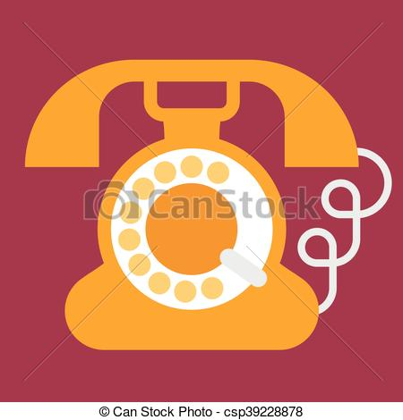 450x470 Vintage Phone Icon. Old Phone Flat Vector Icon. Vintage Rotary