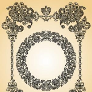 300x300 Hand Draw Ornate Floral Vintage Frame Vector Orangiausa