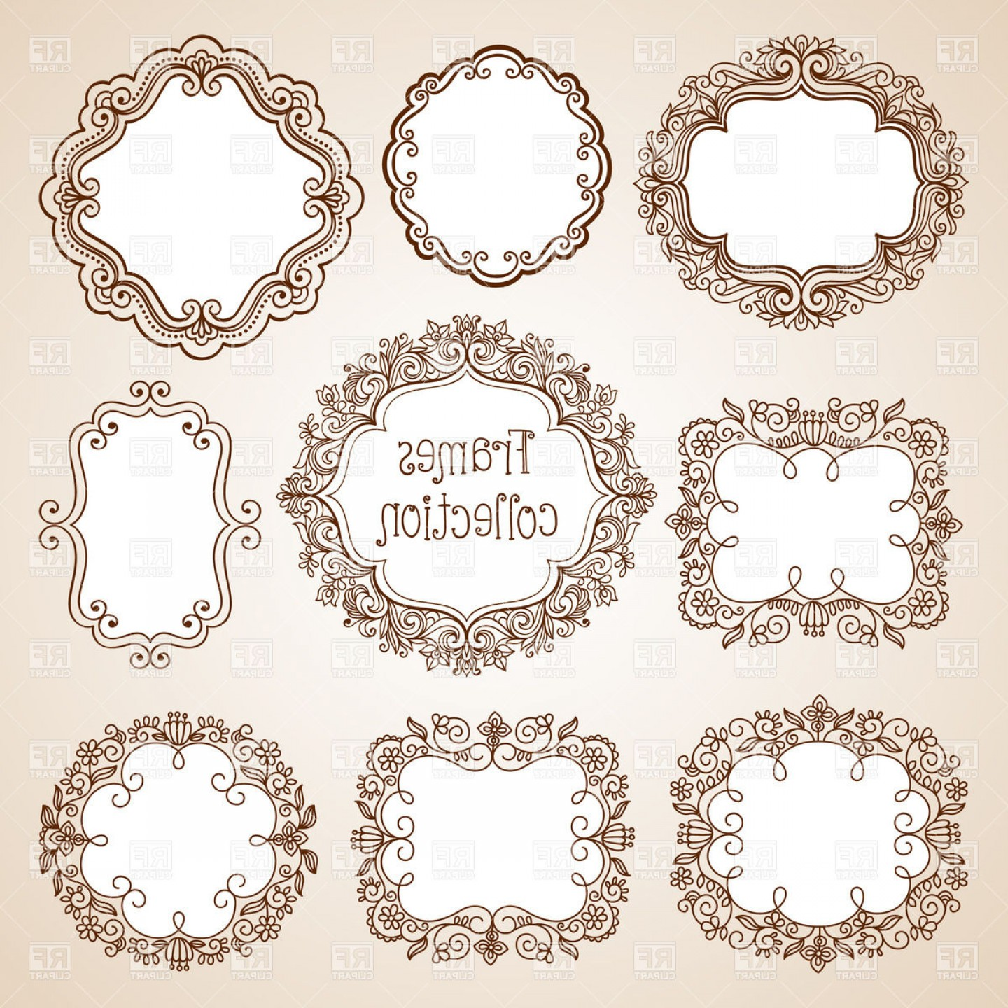 1440x1440 Set Of Ornate Vintage Frames Round Oval And Square Vector Clipart