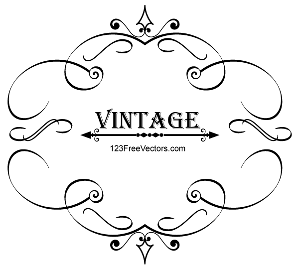600x540 Vintage Calligraphy Frame Vector Graphics By 123freevectors On