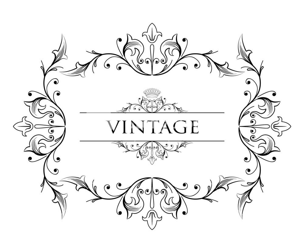 1000x815 Vintage Floral Frame Vector Illustration Royalty Free Stock Image