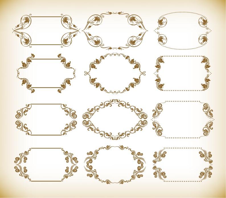 794x695 Vintage Retro Frames Vector Set Free Vector Graphics All Free