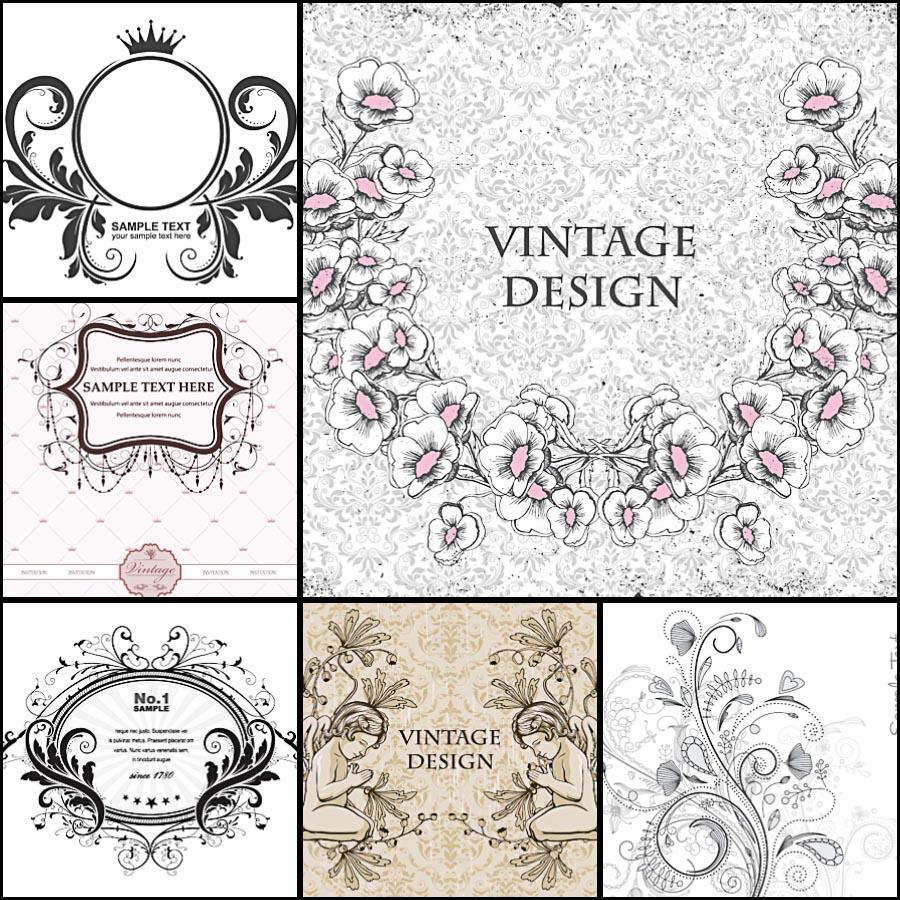 900x900 Floral Wreath Vintage Frame Vector Set Free Download