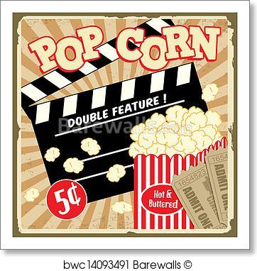 362x382 Art Print Of Popcorn With Clapper Board And Movie Tickets Vintage