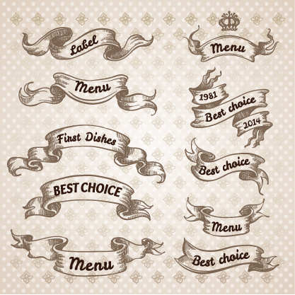 417x417 Hand Drawn Vintage Ribbon Benner Vector 09 Free Download