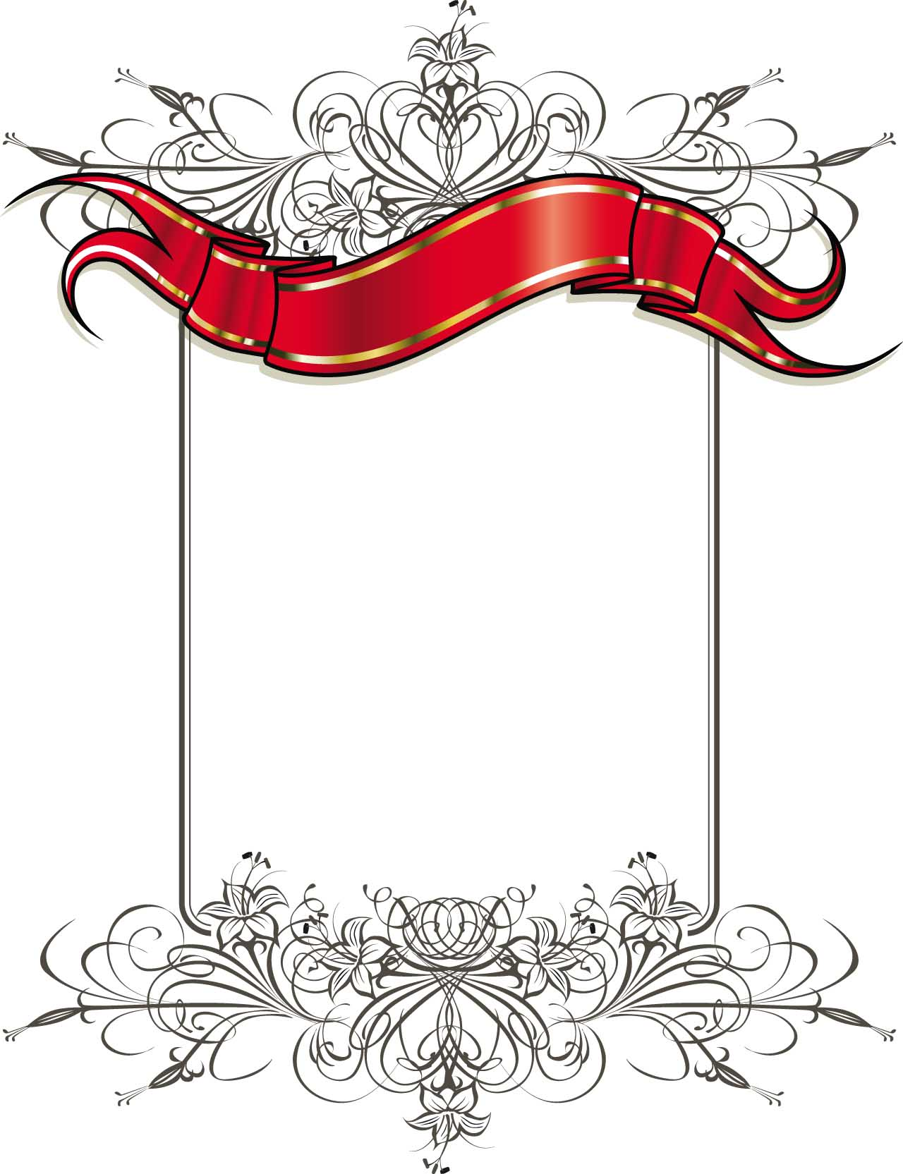 1280x1665 Ornate Vector Card With Gilded Ribbon Free Download