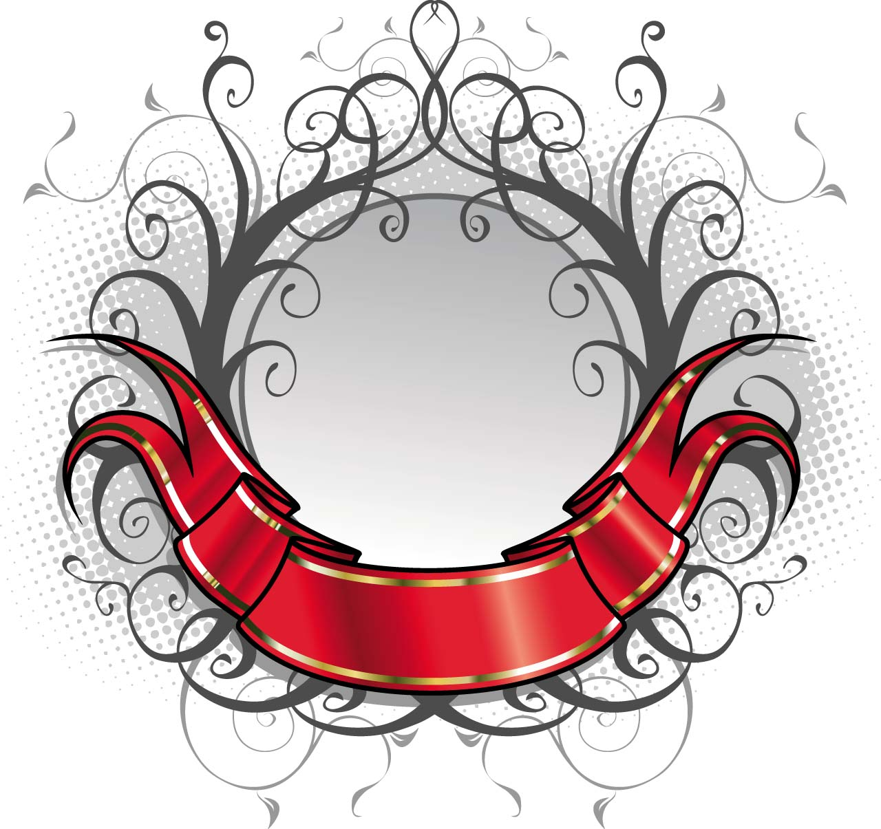 1280x1205 Red Ornate Title Ribbon Vector Free Download