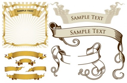 425x279 Retro Ribbon Banner Vector Pack