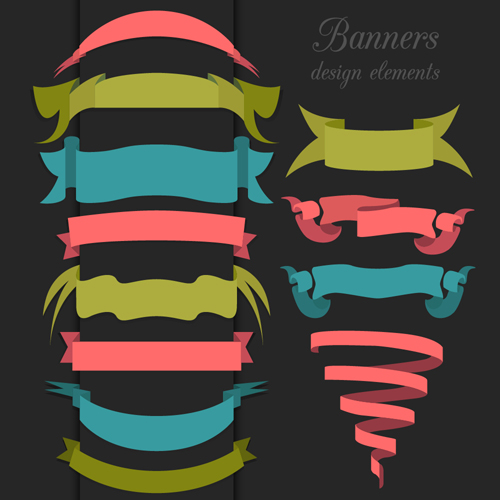 500x500 Vector Set Of Ribbon Vintage Banners 01