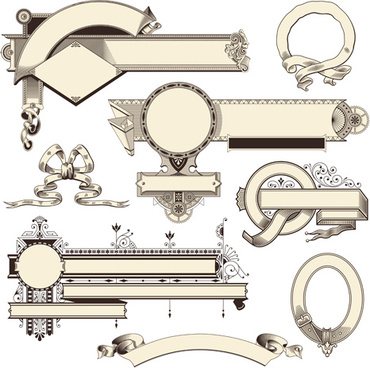 370x368 Vintage Frames Ornaments With Ribbon Vector Png Images