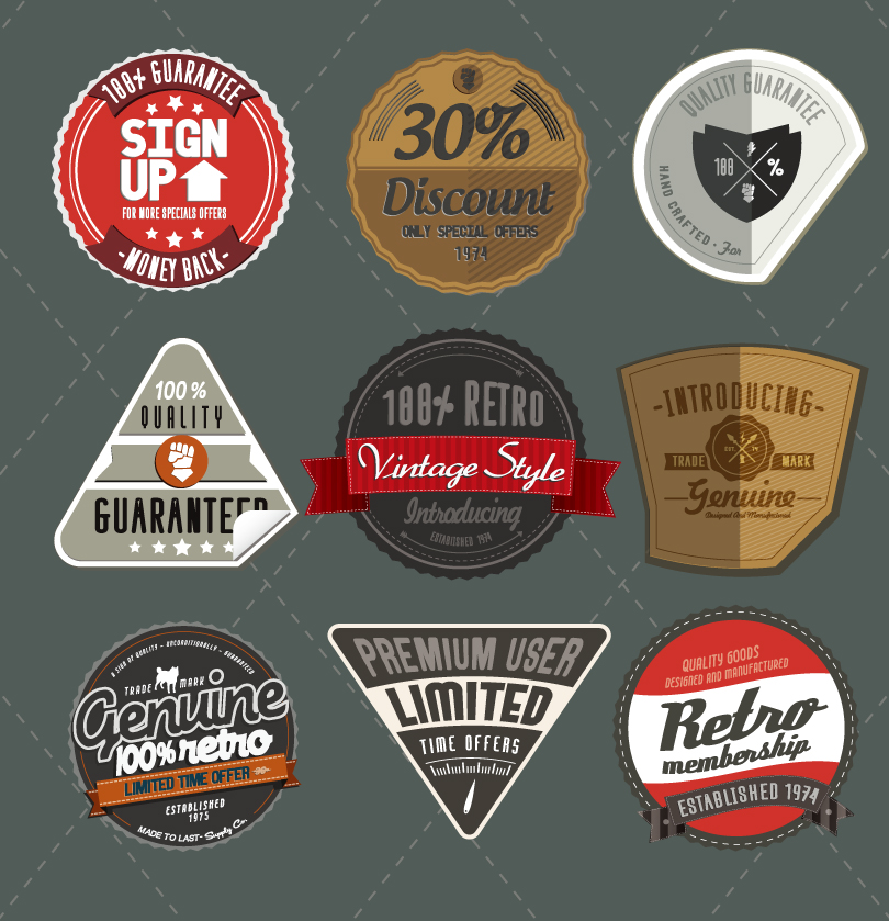 810x839 Vintage Web Badges And Ribbons Vector Free Vector Graphic Download