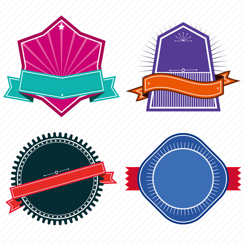 500x501 Vintage Colored Labels With Ribbon Vectors 02 Free Download