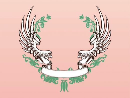 518x388 Wings And Ribbon Vector