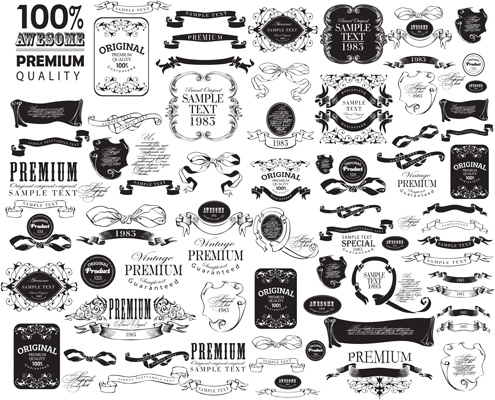 495x400 Black Vintage Ornaments With Labels And Ribbon Vector Free Vector