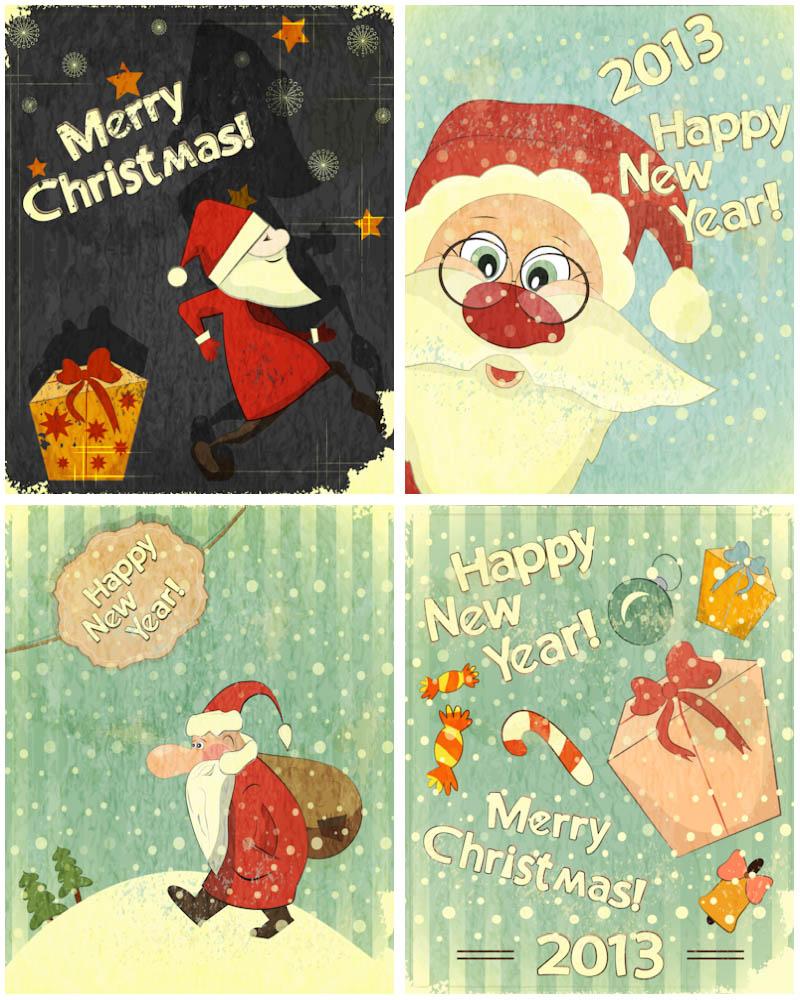 800x1000 Retro Santa Claus Cards Vector Vector Graphics Blog