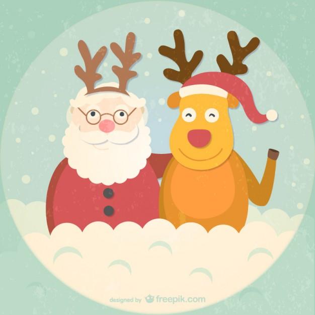 626x626 Retro Style Santa And Reindeer Cartoon Vector Free Vector
