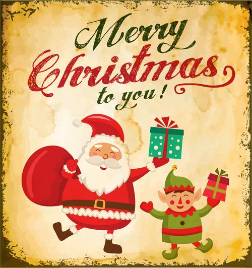 500x532 Santa With Christmas Poster Vintage Vectors 01