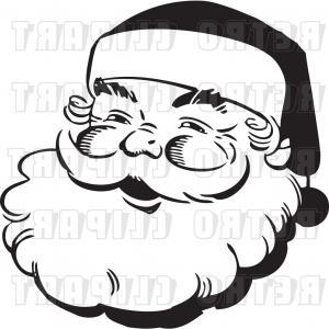 300x300 Vector Clip Art Of Retro Santa Claus Face Outline By Bestvector