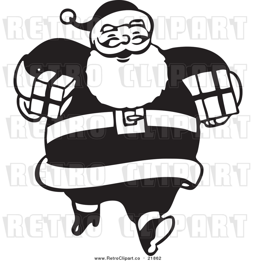 1024x1044 Vector Clip Art Of Retro Santa Claus Carrying Gifts
