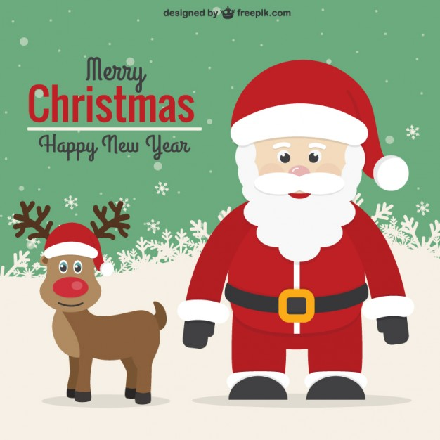 626x626 Vintage Christmas Card With Santa And Reindeer Vector Free Download