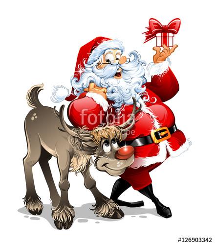 440x500 Cartoon Vector Santa Claus Character Holding A Present Near His