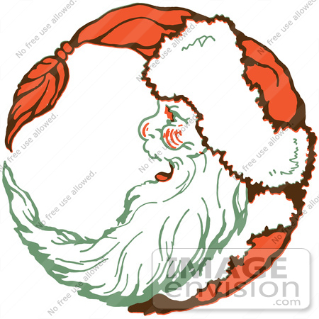 450x450 Clipart Of A Retro Christmas Santa Laughing In Profile And Forming