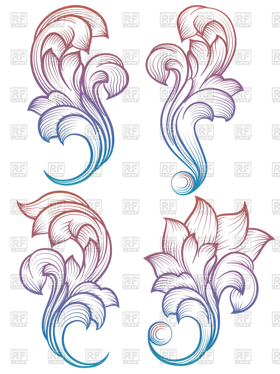 900x1200 Vintage Foliage Ornament On White Background, Baroque Scroll
