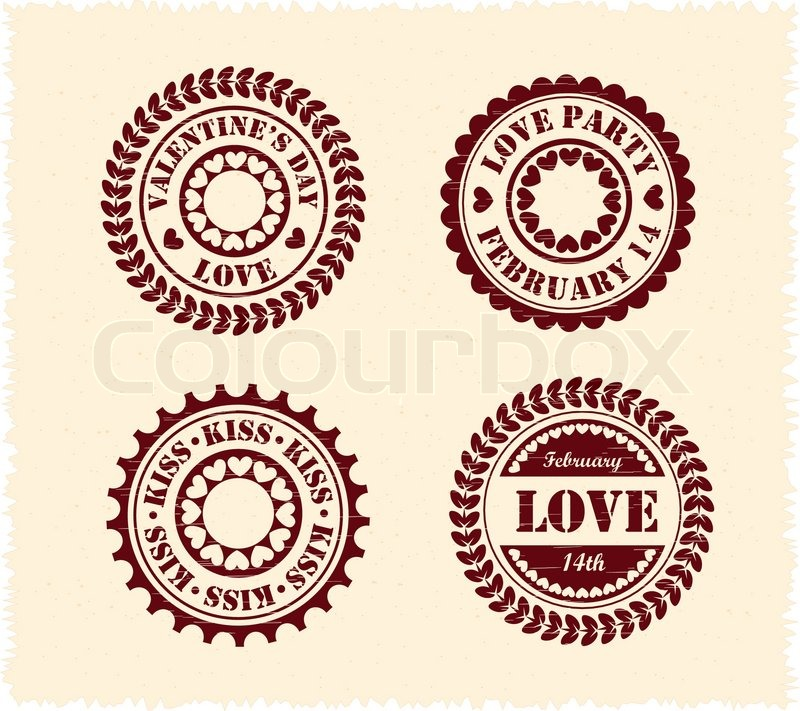800x711 Valentine Day Vintage Stamps Stock Vector Colourbox