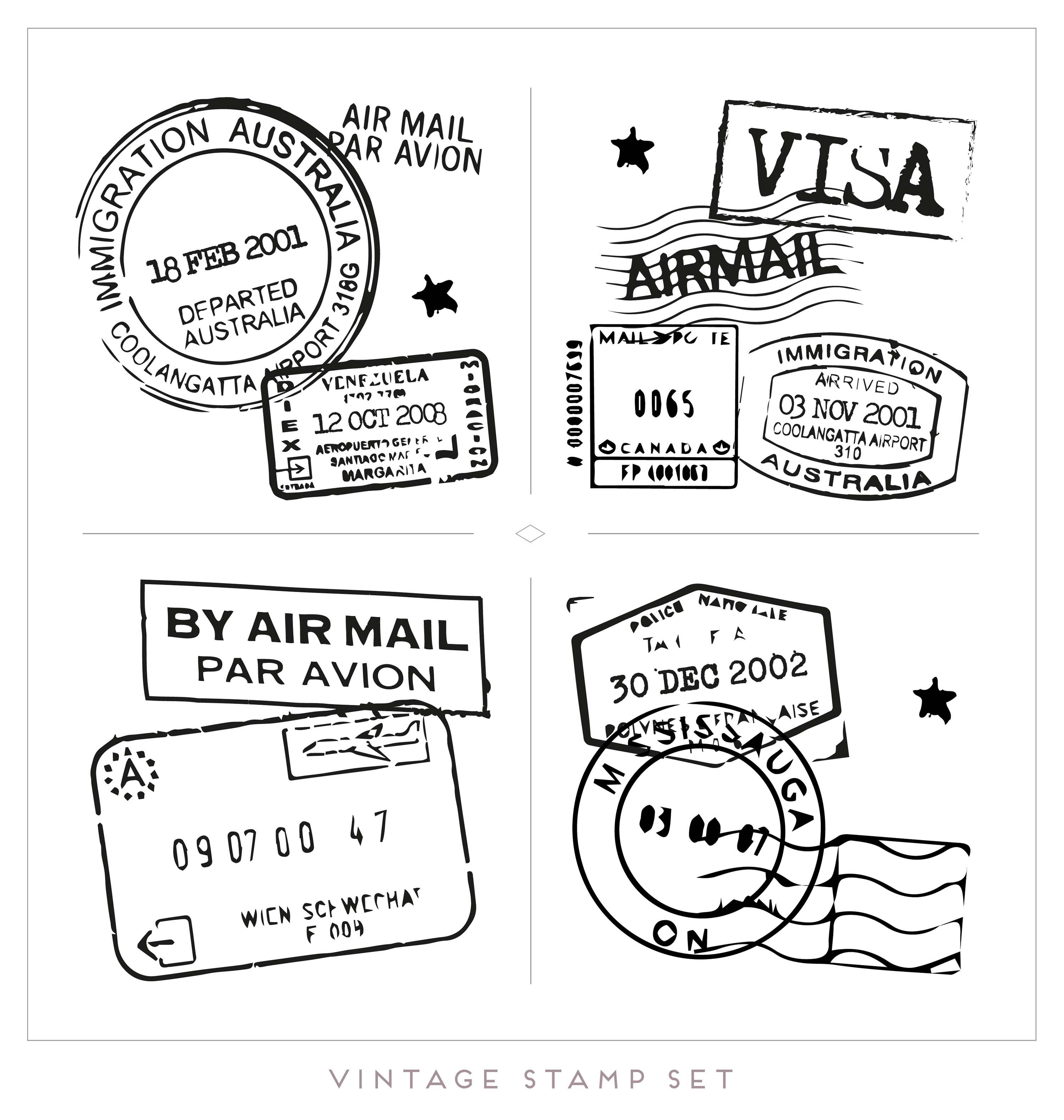 3000x3157 Vintage Stamp Free Vector Art