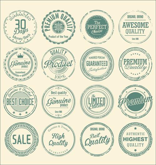 500x527 Vintage Round Stamp Label Vector 01 Free Download