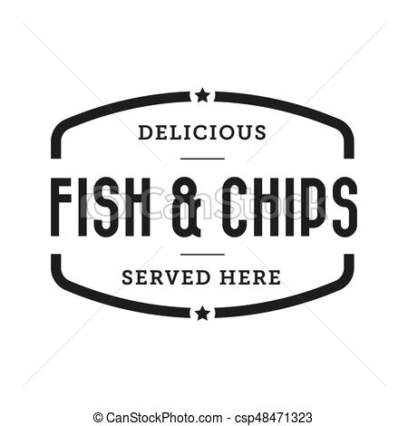 450x470 Fish And Chips Vintage Stamp Vector.