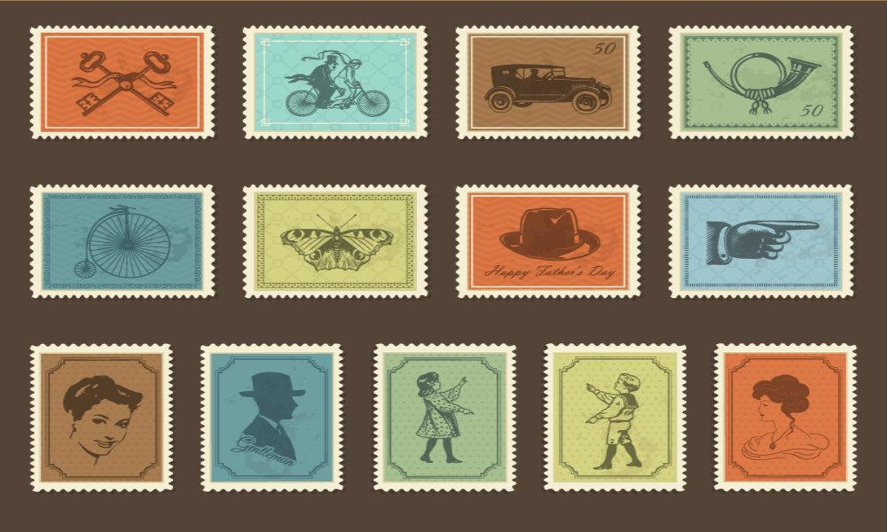 1000x600 Free Retro Stamp Vector Icons