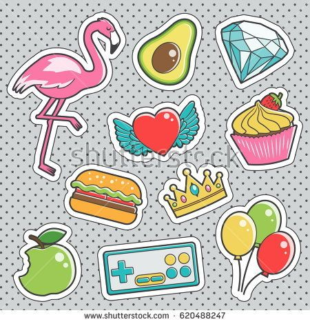 450x470 Set Of Fun Trendy Vintage Sticker Fashion Badges With Pink