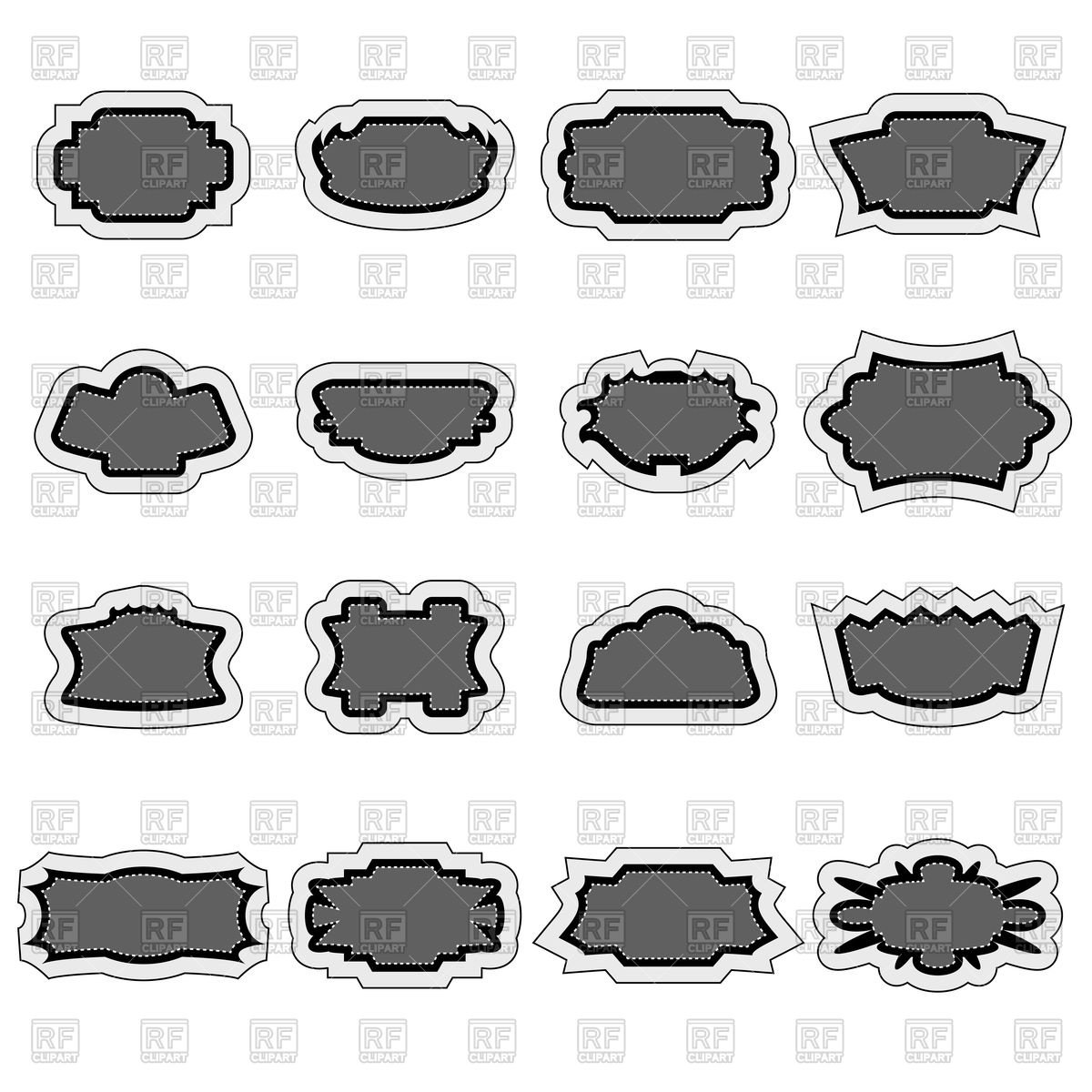 1200x1200 Set Of Vintage Gray Stickers Vector Image Vector Artwork Of