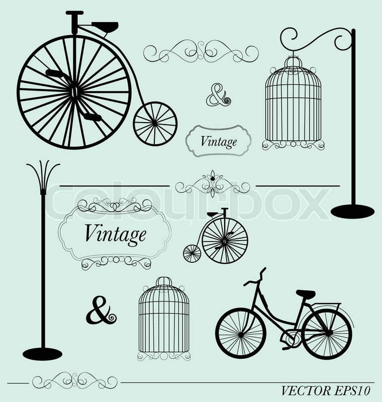 760x800 Vector Set Of Vintage Design Elements, Can Be Used For Wall