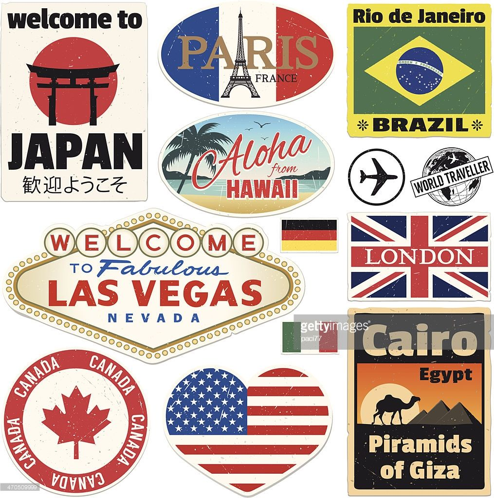 1015x1024 Vector Vintage Travel Stickers. High Res Jpeg Included Travel