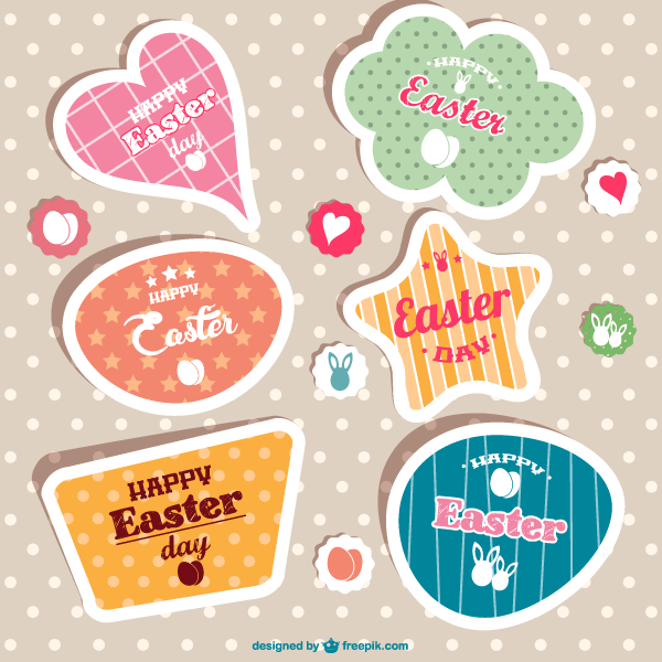 600x600 Vintage Easter Stickers Vector 123freevectors