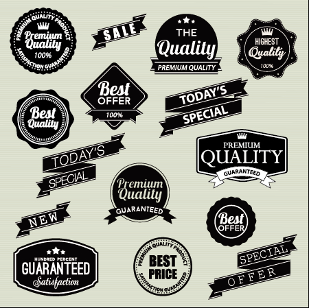 450x449 Vintage Labels With Stickers And Ribbons Vector Graphics 02 Free