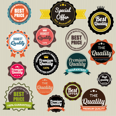 446x447 Vintage Labels With Stickers And Ribbons Vector Graphics 03 Free