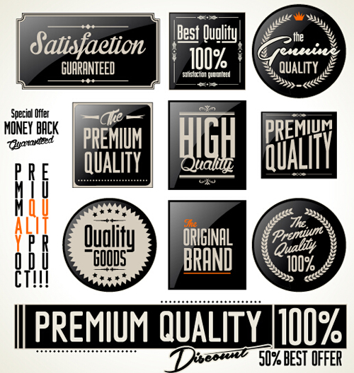 500x528 Vintage Premium Quality Stickers And Labels With Banner Vector 01