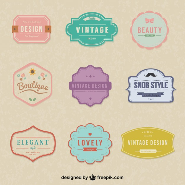 626x626 Vintage Simple Stickers Vector Free Download