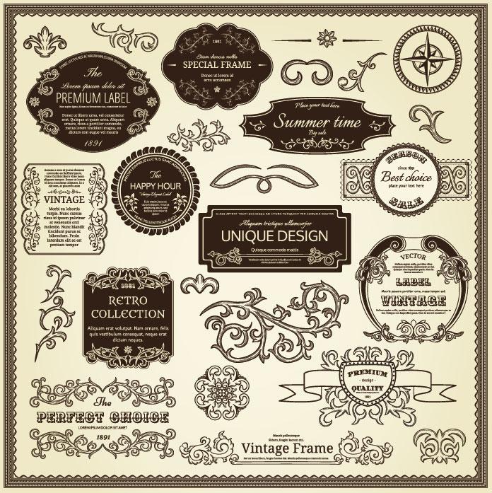 696x697 Vintage Stickers Vector 6 Vector Sources