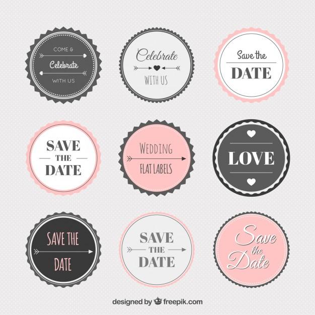 626x626 Vintage Wedding Sticker Collection Vector Free Download