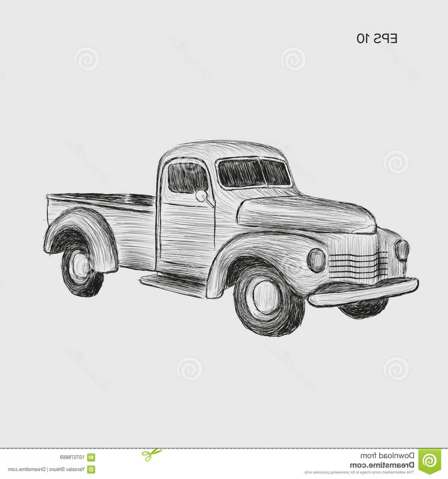 1560x1668 Hand Drawn Old Farmer Pickup Truck Vector Illustration Icon