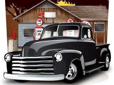 400x300 Old School Vector Pick Up Truck Truck School, Cars