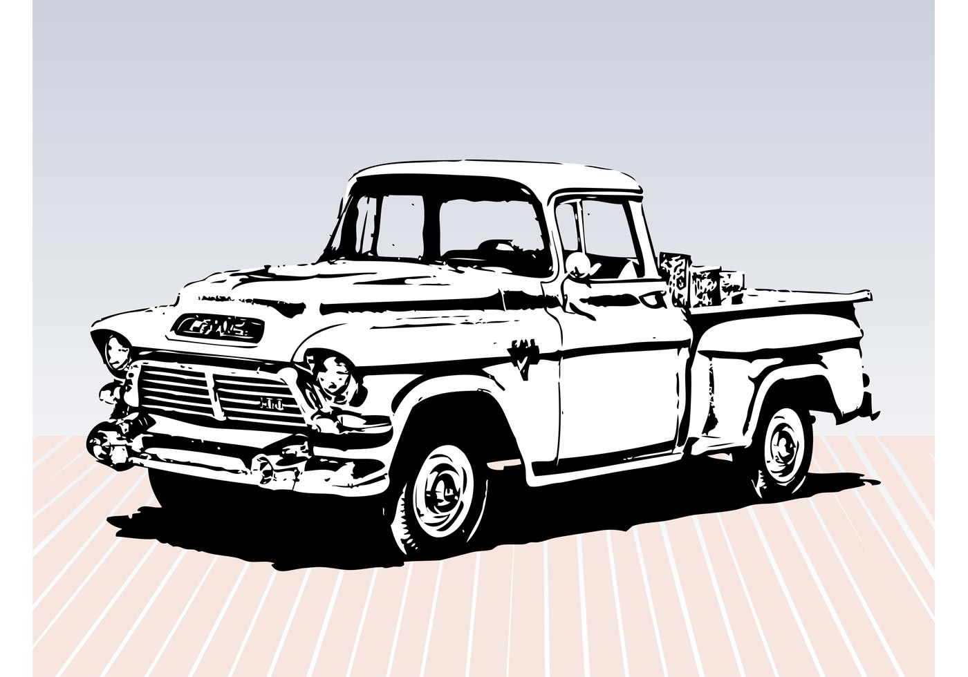 1400x980 Old Truck Free Vector Art